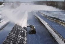Snow removal on solar panels